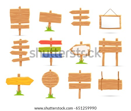 Set of wooden tablets and signs. Vector icons on white background. Elements for design. Concept of location.