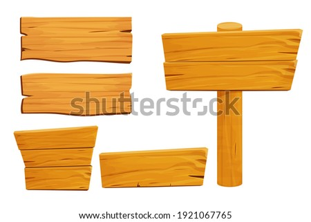 Set of wooden tablets, textured panels, signboard in cartoon style isolated on white background stock vector illustration. Rustic board, plank with place. Ui game assets, rural background.