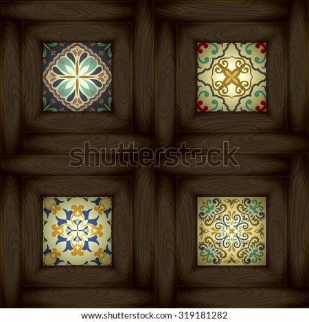 set of wooden vs ceramic tiles