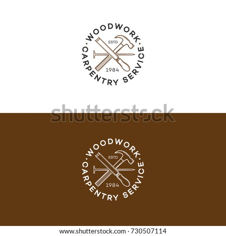 Set of woodwork logo with hammer and nail isolated on background for carpentry service, wood master and sawmill service. Stamp, banner. Wood work and manufacture template. Vector illustration