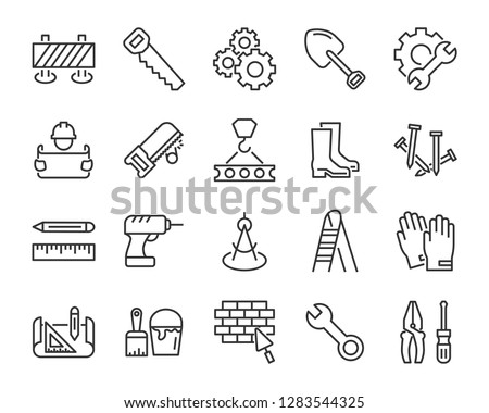 set of work icons, such as engineer, carpenter, construction, builder