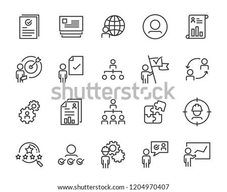 set of work icons, such as job, search, business, training, skills #1204970407