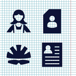 Set of 4 worker filled icons such as maid, helmet