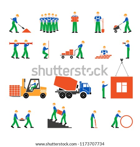 Set of workers icons on building flat style.