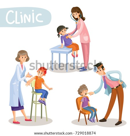 Set of working pediatrician doctors taking patients, listening to stethoscope, checking throat, making vaccine injection in childrens clinic cartoon vector illustration isolated on white background