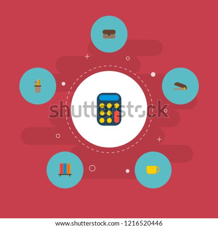 Set of workspace icons flat style symbols with bookshelf, stapler, briefcase and other icons for your web mobile app logo design.