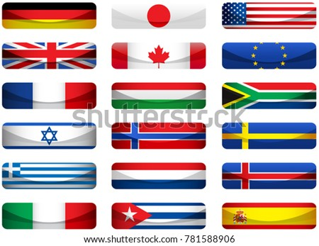 Set of world flags. Eps 10 file with transparencies and drop shadow(banner).All elements are separate, easily editable in separate layers. Vector illustration scale to any size. #781588906