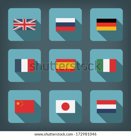 set of world flags in modern