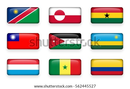 set of world flags rectangle