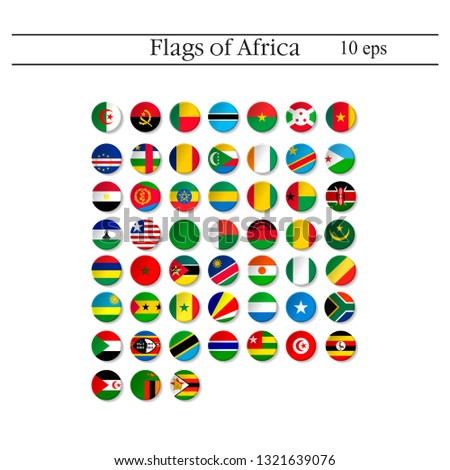 Set of world flags round badges. Africa. 10 eps