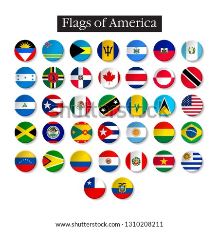 Set of world flags round badges. America. 10 eps