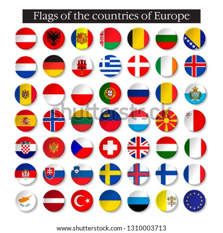 Set of world flags round badges. Europe. 10 eps