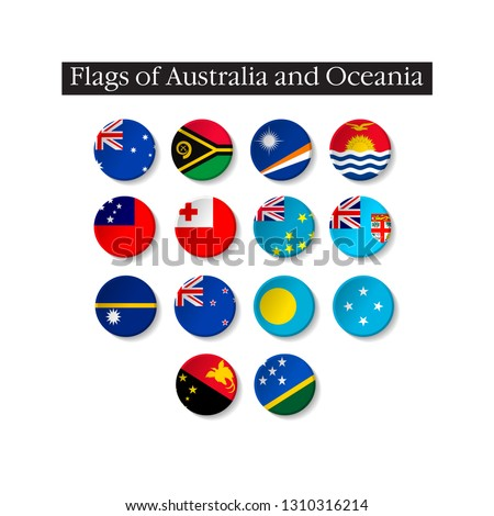 Set of world flags round badges. Flags of Australia and Oceania. 10 eps
