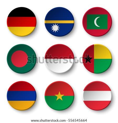set of world flags round badges