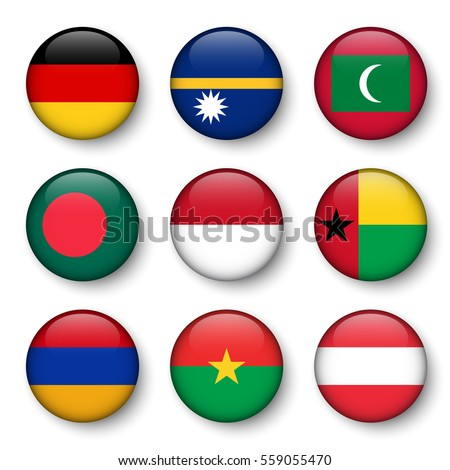 set of world flags round badges