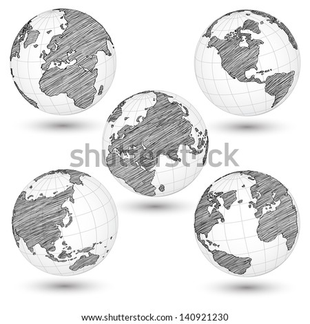 Set of World Map Earth Globe Vector line Sketched Up Illustrator EPS 10