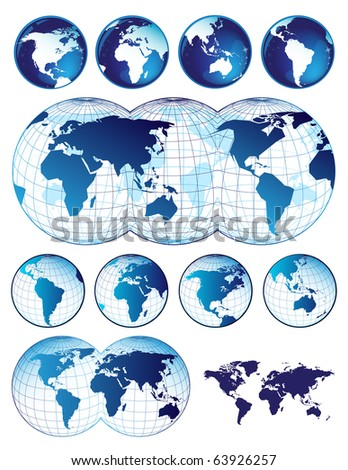 Set of world maps