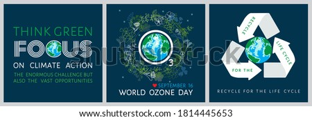 Set of World Ozone Day inspirational posters with globe,  O 3 sign in floral, herbal wreath. Think green, focus on climate action, recycle for the life cycle - motivational quotes vector illustration Foto stock ©