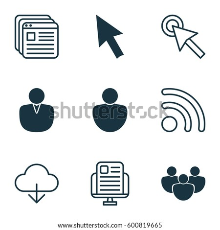 Set Of 9 World Wide Web Icons. Includes Mouse, Human, Blog Page And Other Symbols. Beautiful Design Elements.