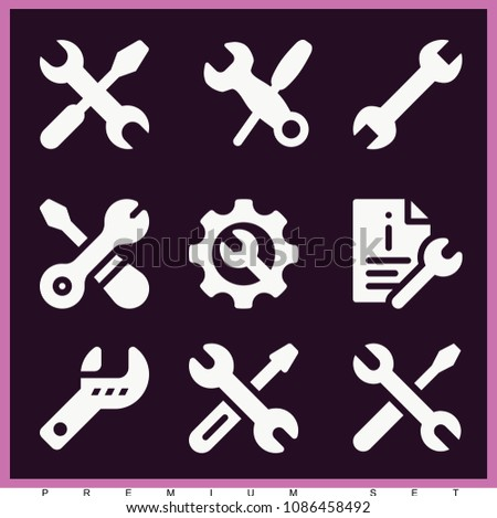 Set of 9 wrench filled icons such as spanner, repairing service, screwdriver and wrench crossed, settings, support, tools, information