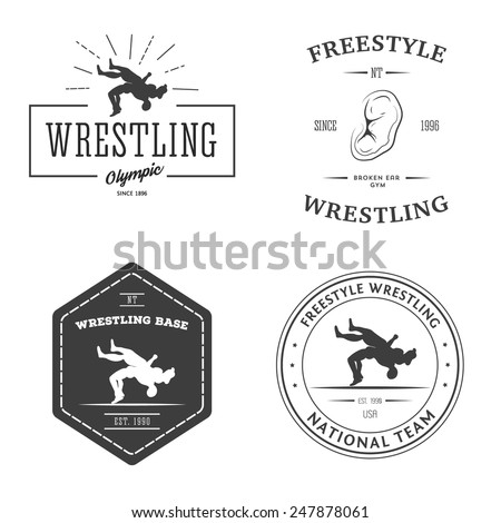 Set of wrestling logos, labels and badges. Templates for your design
