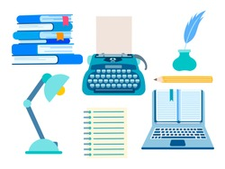 Set of writer's accessories, objects of working space of the literary worker. A typewriter, a lamp, a stack of books, a notebook, a pencil, an inkwell and a feather. Vector illustration.