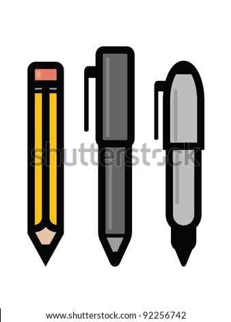 Set of Writing Utensils. Three writing utensil icons - pencil, pen and marker.