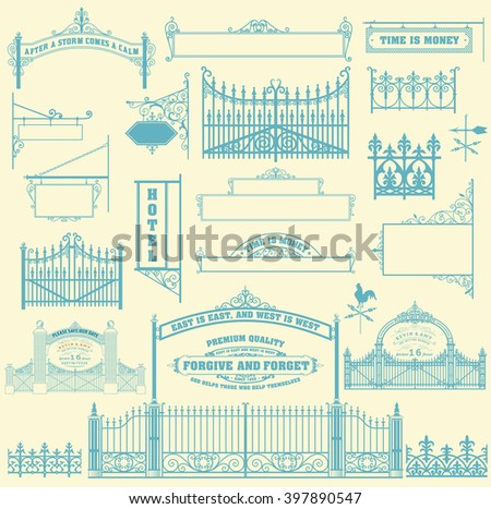 set of wrought iron wicket