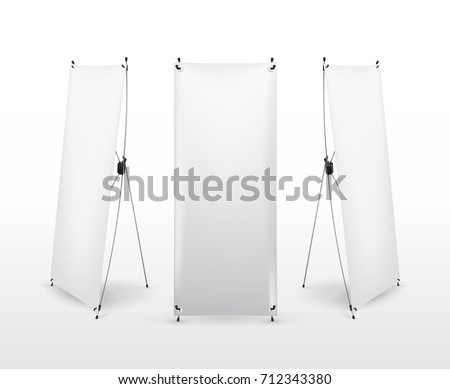 Set of X banner stand. Flip Chart for training or promotional presentation. Design template, blank pop up banner, display template for designers. Vector illustration. Isolated on white background #712343380