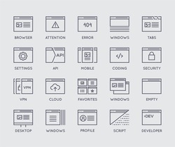 Set of 48x48 Minimal Browser, Developing, App and Coding Vector Line Icons. Perfect Pixel. Thin Stroke.