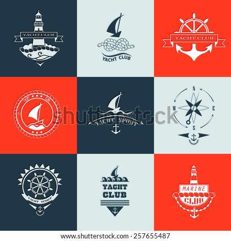 Set of yacht club logo collection.