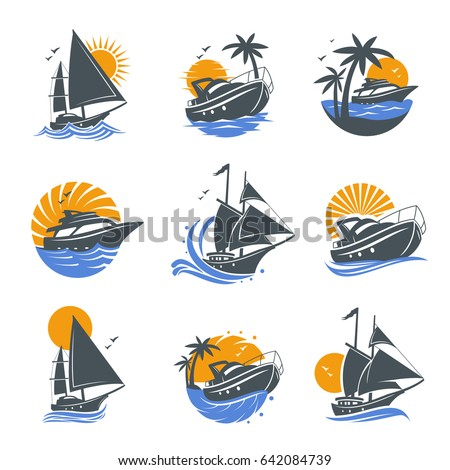 set of yacht icons with waves