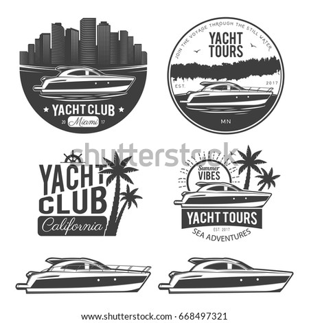 Set of yacht logos, labels, emblems and design elements. Vector illustration, isolated on white background.