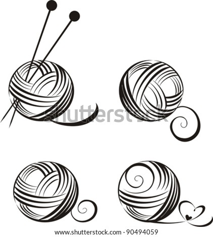 Vector Images, Illustrations and Cliparts: set of yarn ...