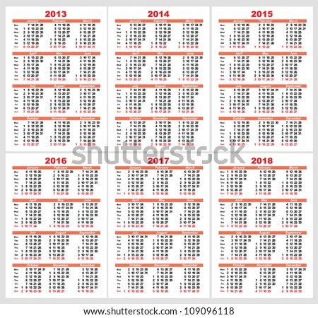 Set of 2013 1214 1215 1216 1217 1218 year, Calendar grid pocket vector