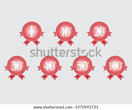 Set of 100 years luxurious logo. Anniversary year of 100 th vector white template on red background with ribbons vector. Greetings ages celebrates. Celebrating place symbol of victory and success