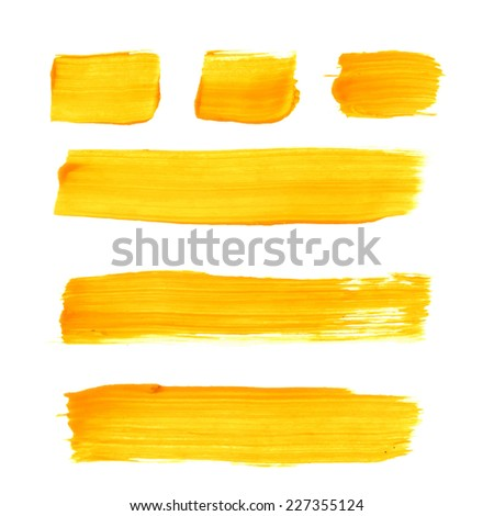 Set of yellow acrylic brush vector strokes