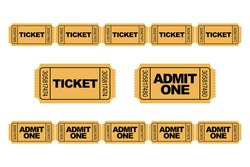 Set of yellow admit one ticket icons and roll / row of tickets. Ticket Chains.