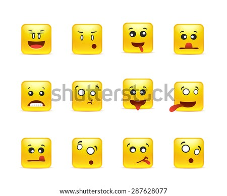 set of yellow anime smileys