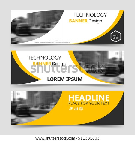 Set of yellow banner, horizontal business banner templates. Vector banner corporate identity, website banner design, modern banner design. Abstract technology background layout, eps10