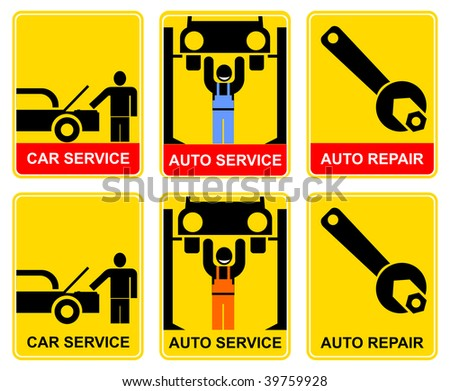 Set of yellow-black signs for car service. Car mechanician repairing the machine. Information sign, vector icon for workshop.