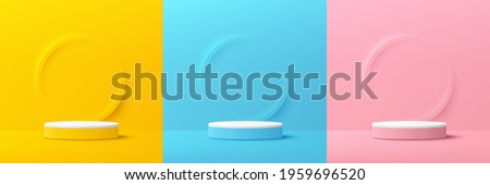 Set of yellow, blue, pink, white cylinder pedestal podium. Emboss ring shape with pastel color backdrop. Abstract vector rendering 3d shape. Cosmetic product display presentation. Minimal wall scene.
