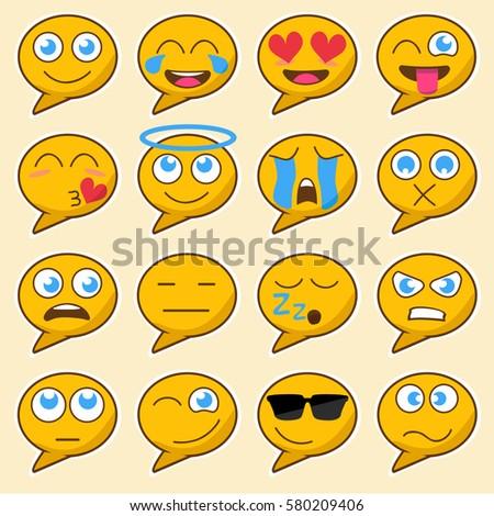 set of yellow emoji speech