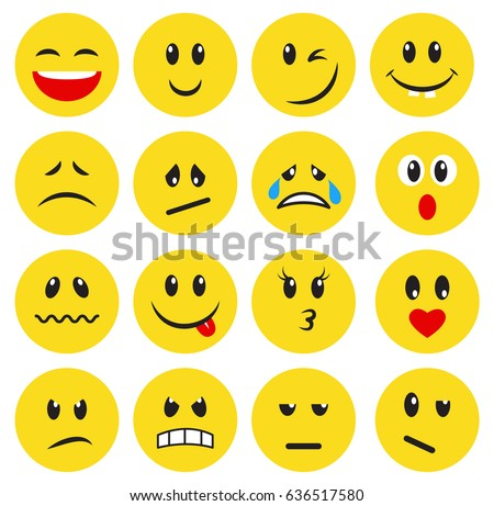 set of yellow emoticons and