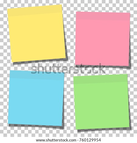 Set of yellow, green, blue and pink paper sticky notes glued to the surface isolated on transparent background. Vector illustration.