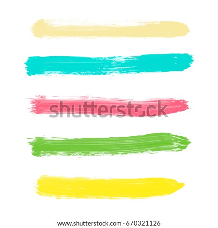Set of yellow, green, turquoise, pink pastel powder color vector watercolor hand painted stripes, isolated white background. Collection of acrylic dry brush stains, strokes, geometric horizontal lines #670321126