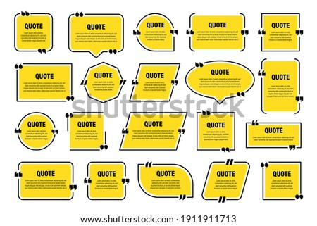 Set of yellow isolated quote frames. Speech bubbles with quotation marks. Blank text box and quotes. Blog post template. Vector illustration.