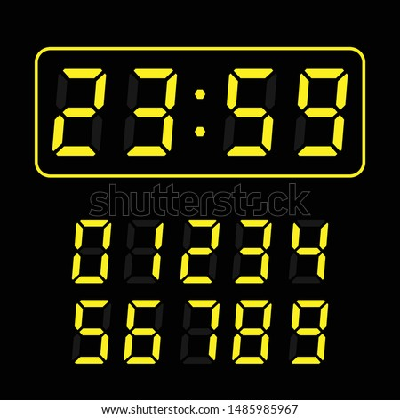 set of yellow led digital clock number isolated on black background. electronic figures for counter or calculator mockup interface design.