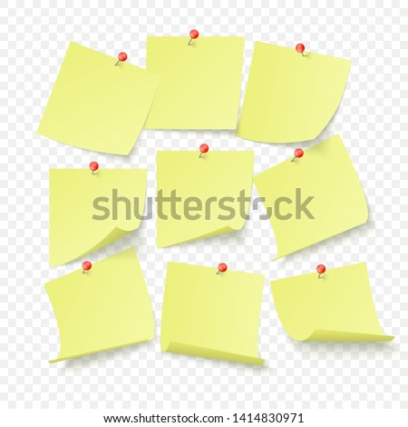 Set of yellow office stickers with space for text or message stuck by neeples to wall. Vector illustration isolated on transparent background