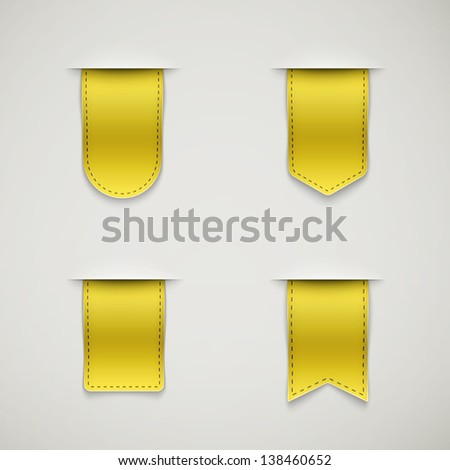set of yellow ribbons different shapes eps10 - stock vector